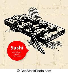 mão, desenhado, sushi, illustration., esboço, fundo