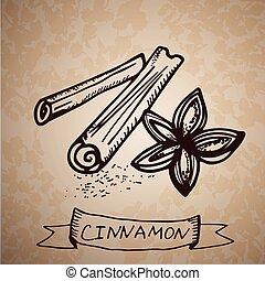 mão, desenhado, varas canela
