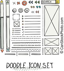 mão, desenhado, vetorial, ícones, jogo, site web, desenvolvimento, doodles, elements.