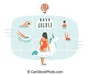 mão, desenhado, vetorial, abstratos, caricatura, tempo verão, divertimento, ilustração, com, família feliz, em, piscina, e, modernos, tipografia, citação, melhor, agosto, isolado, branco, fundo