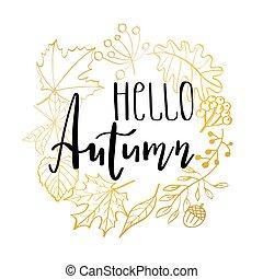 mão, desenhado, vetorial, illustration., grinalda, com, outono, leaves., floresta, desenho, elements., olá, outono