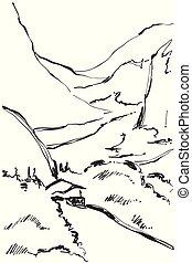 mão, desenhado, vetorial, ilustração, de, montanha, paisagem., esboço