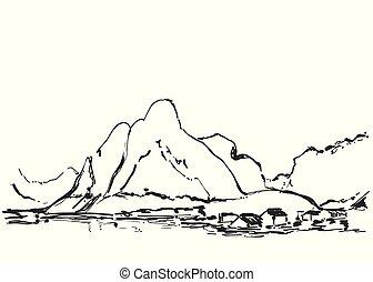 mão, desenhado, vetorial, ilustração, de, paisagem montanha