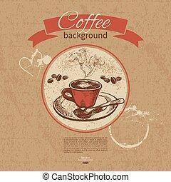 mão, desenhado, vindima, café, experiência., menu, para,...