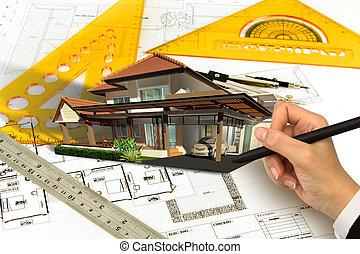 mão, desenhar, blueprint, de, um, casa