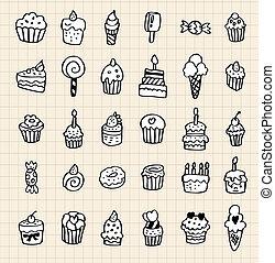 mão, desenhar, bolo, elemento