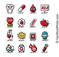 mão, desenhar, caricatura, médico, e, hospitalar, ícones, jogo