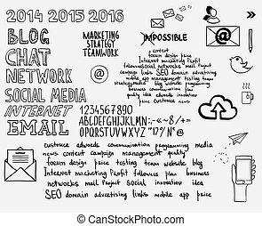 mão, desenhar, doodle, esboço, mente, mapa, em branco, carta fluxo, espaço, para, texto, com, keywords., conceito, negócio, blog, internet, seo, programação, marketing, teia, projeto