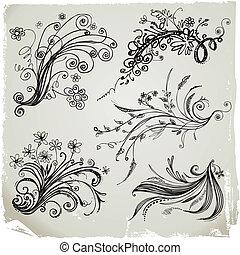 mão, desenhar, elementos florais