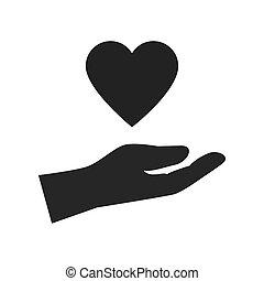 mão, desenho, ícone