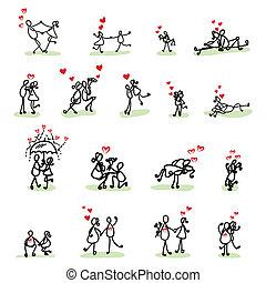 mão, desenho, caricatura, amor