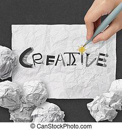 mão, desenho, desenho, palavra, criativo, ligado, papel amarrotado, com, como, conceito