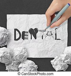 mão, desenho, desenho, palavra, dental, branco, papel amarrotado, e, textura, fundo, como, conceito