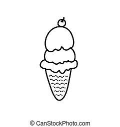 mão, desenho, sorvete
