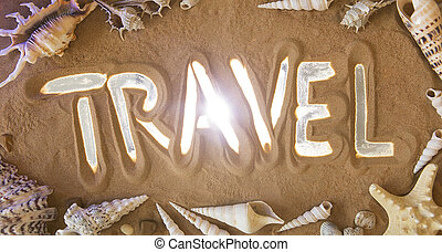 mão, desenho, viagem, símbolo, em, a, sand., praia, experiência., vista superior