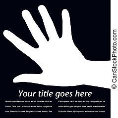 mão, design., simples