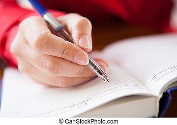 mão, diário, close-up, escrita