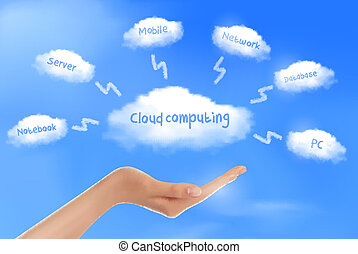 mão, diagrama, nuvem, computando