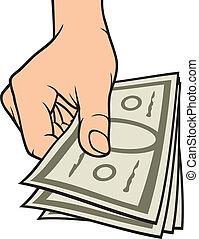 mão, dinheiro, dar
