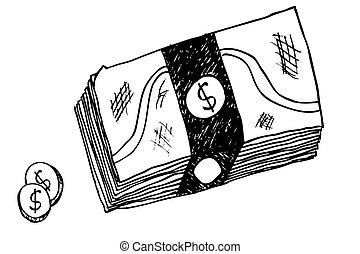 mão, dinheiro, desenhar, esboço