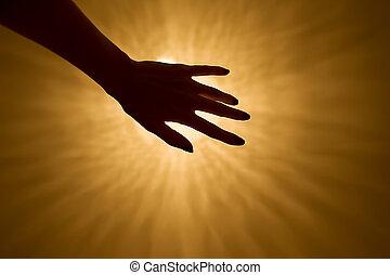mão, direção, a, luz