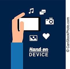 mão, dispositivo, desenho