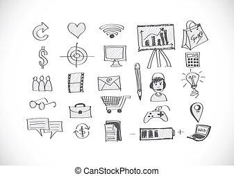 mão, doodle, negócio, doodles