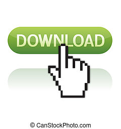 mão, download, botão, cursor