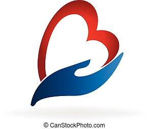 mão, e, coração, logotipo