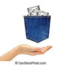 mão, e, dólares, costas, calças brim, bolso