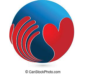 mão, e, heart., global, cuidado, logotipo