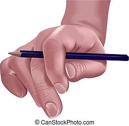 mão, e, lápis