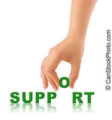 mão, e, palavra, apoio