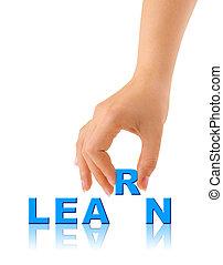 mão, e, palavra, aprender