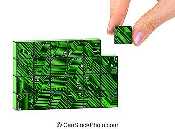 mão, e, tecnologia, quebra-cabeça
