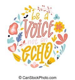 mão, echo., vetorial, voz, quote., lettering, desenhado,...