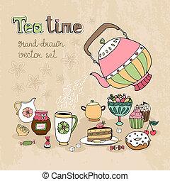mão, elementos, jogo, desenhado, teatime, desenho