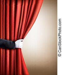 mão, em, um, branca, luva, puxando, cortina, away.,...
