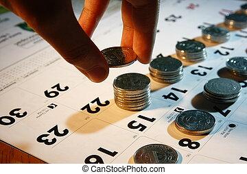 mão, empilhando, moedas
