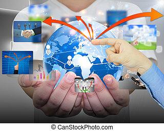 mão, empurrar, comunicação negócio