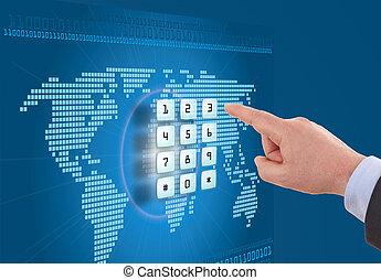 mão, empurrar, tela toque, botão, com, experiência azul, com, mapa