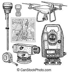 mão, equipamento, desenhado, vetorial, illustration., geodetic