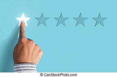 mão, escolher, 1, estrela, avaliação, ligado, experiência azul, -, negativo, realimentação, conceito