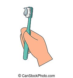 mão, escova, dente