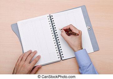 mão, escrita letra