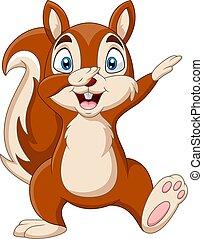 mão, esquilo, waving, engraçado, caricatura