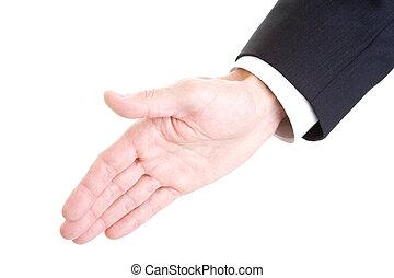 mão, estendido, isolado, branca, aperto mão, homem