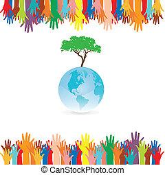 mão, estilo, salvar, terra, árvore, idéia