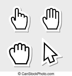 mão, etiquetas, cursores, ícones