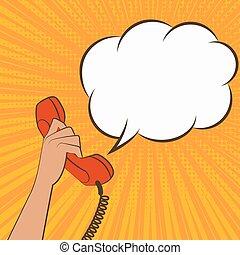 mão feminina, com, monofone telefone